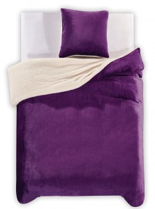 DecoKing Komplet Pościeli TEDDY Purpura 155x220+80x80*1